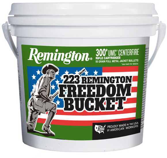 Picture of Remington UMC Rifle Ammo - 223 Rem, 55Gr, MC, 300rds Freedom Bucket