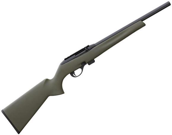 """Picture of Remington Model 597 HB Rimfire Semi-Auto Rifle - 22 LR, 16-1/2"""", Heavy Barrel, Matte Black, OD Green Synthetic Stock, 10rds"""