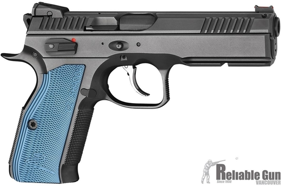 Picture of Pre-Owned, New In Box, Unfired CZ Shadow 2 Black/Blue Pistol - 9mm Luger, 120mm Barrel, Adjustable Sights, 3x10rds, Black w/ Blue Grips