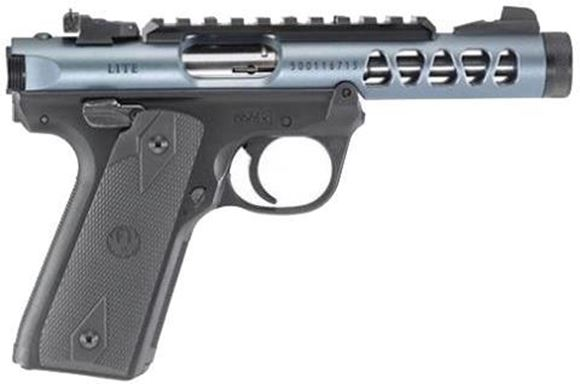 "Picture of Ruger Mark IV 22/45 Lite Rimfire Semi-Auto Pistol - 22 LR, 4.4"", Diamond Grey Anodized, Polymer Frame, Checkered, 1911-style grip, 10rds, Fixed Front & Adjustable Rear Sights, Optic Rail"