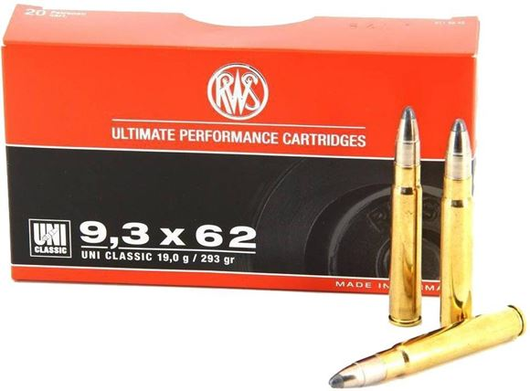 Picture of RWS Rottweil UNI Classic Hunting Rifle Ammo - 9.3x62mm, 293Gr, UNI Classic Soft Point, 20rds Box