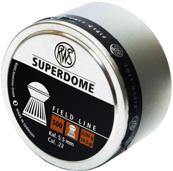 Picture of RWS Rottweil Field Line Hunting/Sports Air Gun Pellets - RWS Superdome, 22 Caliber (5.5mm), 14.5Gr (0.94 g), Round Head, 500ct Tin Can
