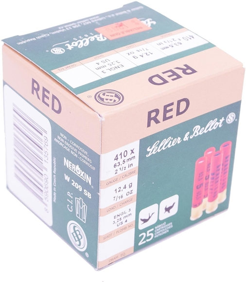 """Picture of Sellier & Bellot Hunting Shotgun Shells - Red, .410, 2-1/2"""", 7/16oz, #4, Lead, 25rds box"""