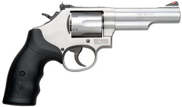 """Picture of Smith & Wesson (S&W) Model 66-8 DA/SA Revolver - 357 Mag, 4.25"""", Glass Bead Stainless Steel Frame & Cylinder, Medium Frame (K), Synthetic Grip, 6rds, Red Ramp Front & Adjustable White Outline Rear Sights"""