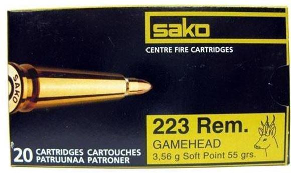 Picture of Sako Rifle Ammo - 223 Rem, 55Gr, Gamehead Soft Point (110G), 20rds Box