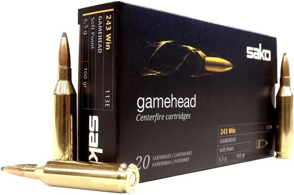 Picture of Sako Rifle Ammo - 243 Win, 100Gr, Gamehead Soft Point (113E), 20rds Box