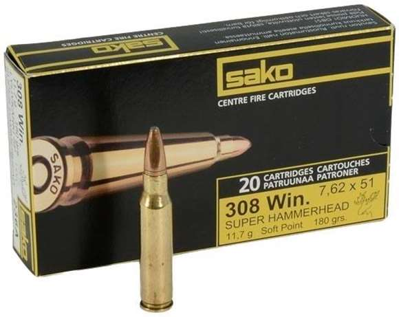 Picture of Sako Rifle Ammo - 308 Win, 180Gr, Super Hammerhead Bonded Soft Point (236A), 20rds Box