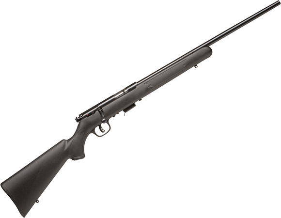 "Picture of Savage Arms 17 Series, 93R17F SR Rimfire Bolt Action Rifle - 17 HMR, 21"", Matte Black, Threaded, Matte Black Synthetic Stock, 5rds, Twp-Piece Scope Base, AccuTrigger"
