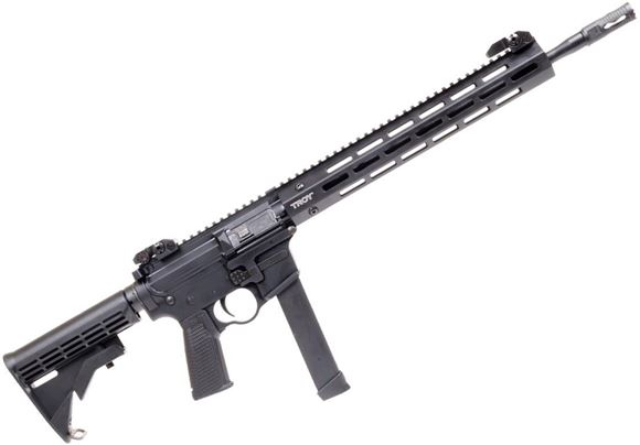 "Picture of Troy Defense M5 Semi Auto Carbine - 9mm, 16"", M-LOK Handguard, Medieval Flash Suppressor, 10rds Glock Mag, Black"