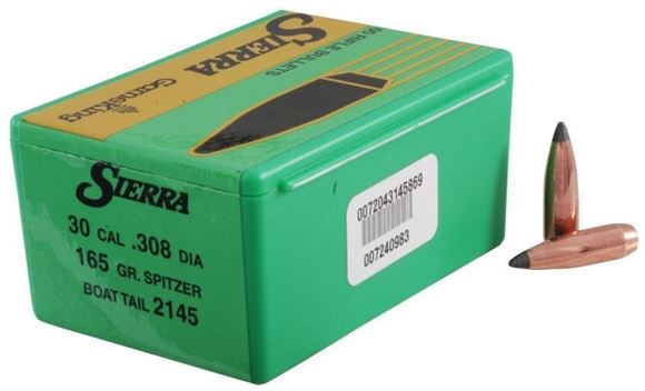 "Picture of Sierra Rifle Bullets, GameKing - 30 Caliber (.308""), 165Gr, Spitzer Boat Tail, 100ct Box"