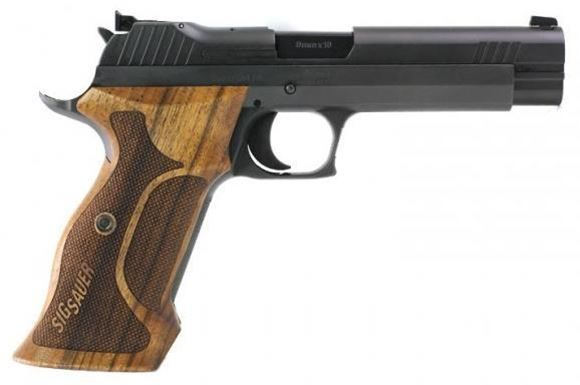 """Picture of Sig Sauer P210 Target Single Action Semi Auto Pistol - 9mm Luger, 5"""", Black, 2x8rds, Walnut Target Grip, Adjustable Rear Sight"""