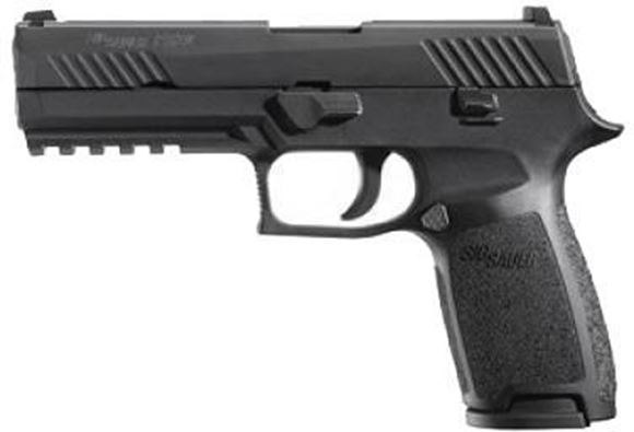 "Picture of SIG SAUER P320 Striker Action Semi-Auto Pistol - 9mm, 4.7"", Nitron Stainless Steel, Black Polymer Grip Module, 2x10rds, Contrast Sights, Rail"