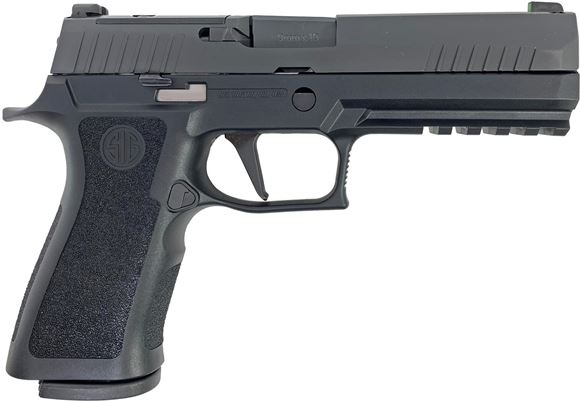 "Picture of SIG SAUER P320 X-Series Striker Action Semi-Auto Pistol - 9mm, 4.7"", Nitron Stainless Steel, Black Polymer Grip Module, 2x10rds, X-Ray 3 Sights, Rail, Optic Ready, Long Dust Cover"