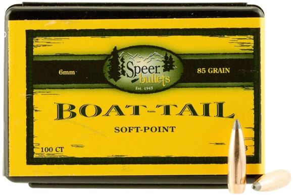 "Picture of Speer Hunting Rifle Bullets, Boat Tail - 6mm Caliber (.243""), 85Gr, Spitzer BTSP, 100ct Box"