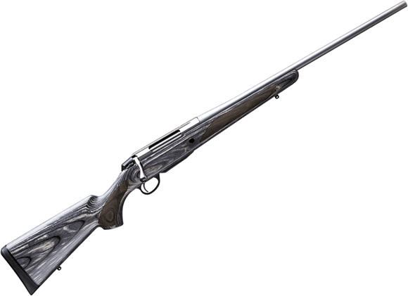 "Picture of Tikka T3X Laminated Stainless Bolt Action Rifle - 308 Win, 22.4"", Stainless Steel, Cold Hammer Forged Light Hunting Contour Barrel, Matte Grey Lacquered Laminated Hardwood Stock, 3rds, No Sight, 2-4lb Adjustable Trigger"