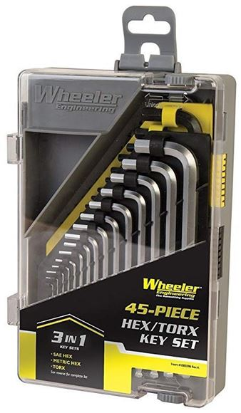 Picture of Wheeler Engineering Gunsmithing Supplies Screwdriver Sets - 45 Piece SAE/Metric Hex & Torx Key Set