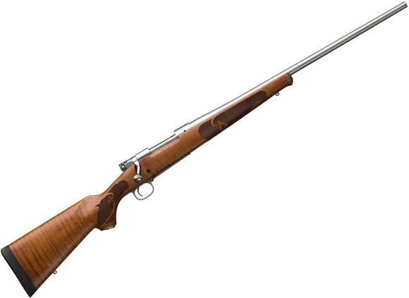 "Picture of Winchester Model 70 Featherweight Stainless Dark Maple Bolt Action Rifle - 270 Win, 22"", Hammer Forged Free-Floating, Matte Stainless,  Satin finish AAAA Dark Maple, Cut checkering, Schnabel forearm,  4rds"
