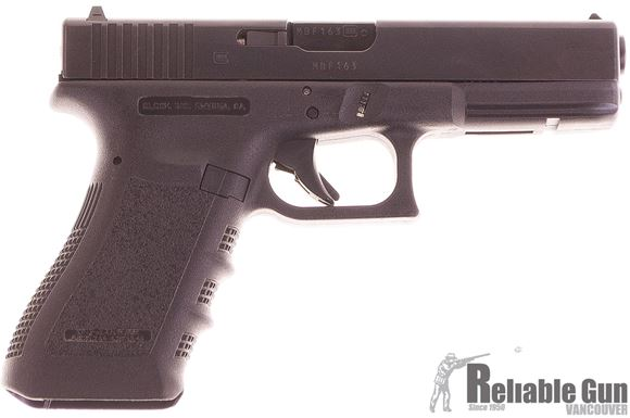 """Picture of Used Glock 17 Gen3 Safe Action Semi-Auto Pistol - 9mm Luger , 4.49"""", Black, 2 Magazines, Extended Slide Stop, Made In Austria, Original Box, Very Good Condition"""