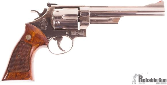 Picture of Used Smith & Wesson Model 29-2 Nickel Revolver, 44 Magnum, 6rd, Nickel Finish, Wood Grips, Very Good Condition