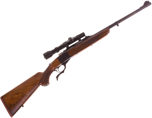 """Picture of Used Ruger No 1 Single-Shot 45-70, 22"""" Barrel w/Sights, Walnut Stock, With Redfield 1-4 Scope, Excellent Condition"""