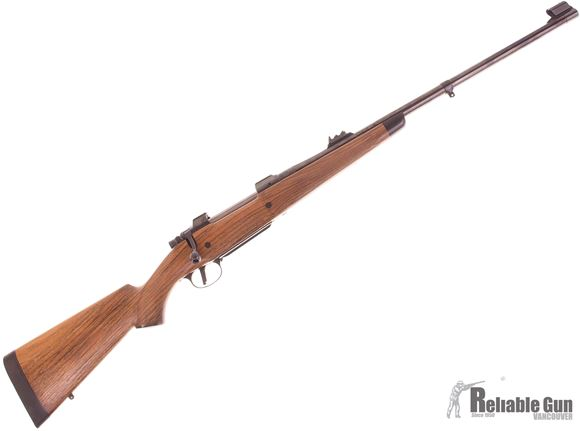 Picture of Used Custom BRNO 602 ZKK 375 H&H Bolt Action Rifle, 24'' Barrel w/Safari Sights, Custom English Walnut Stock With Ebony Forend Tip, Steel Grip Cap, Barrel Band, Slicked Action, Excellent Condition