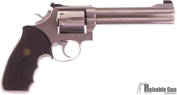Picture of Used Smith & Wesson (S&W) 686 Stainless Revolver, 357 Mag, 6'' Barrel, Pachmayr Rubber Grips & Original Wood Grips, Tuned Trigger, Adjustable Sight, Original Box, Very Good Condition