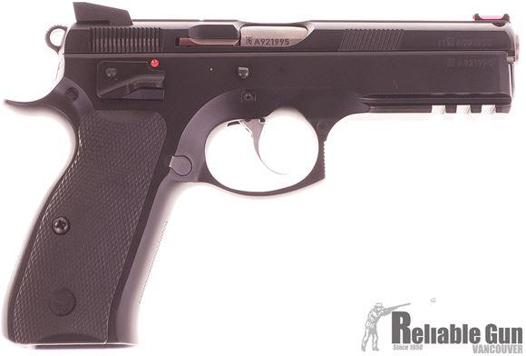 Picture of Used CZ 75 SP-01 Shadow DA/SA Semi-Auto Pistol - 9mm, Black Rubber Grips, Fiber Optic Front & Fixed Rear Sights, 3 Magazines, Original Box, Very Good Condition