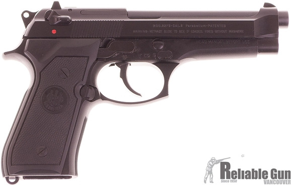 Picture of Used Beretta 92FS Blued 9mm Pistol - 2 Mags, Original Box, Manual. Good Condition