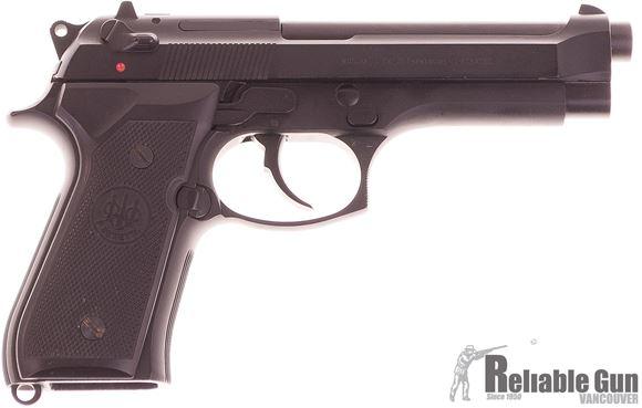 Picture of Used Beretta 92F Semi Auto Pistol, 9mm, Black, 2 Magazines, Original Box, Very Good Condition