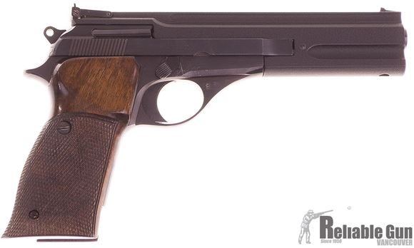 Picture of Used Beretta Model 76 Target Semi Auto Pistol, 22 LR, 6'' Barrel, Adjustable Rear Sight, Checkered Wood Grips w/Thumb Rest, 1 Magazine, Case, Excellent Condition