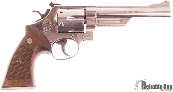 Picture of Used Smith & Wesson Model 29-2 Nickel Revolver, 44 Mag, 6'' Barrel,  Polished Nickel Finish, Wood Grips, Good Condition