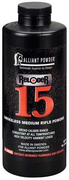 Picture of Alliant Smokeless Medium Rifle Powder - Reloader 15, 1lb