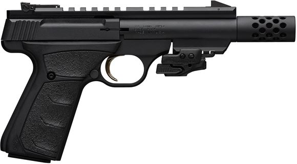 "Picture of Browning Buck Mark Black Label UFX Supressor Ready Rimfire Semi-Auto Pistol - 22 LR, 4 2/5"", Threaded Barrel 1/2-28, Muzzle Brake, Matte Black, Steel, Aluminum Alloy Receiver, Textured Rubber Grips, 2x10rds, Pro-Target Adjustable Sights, Full Length Pica"