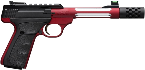 """Picture of Browning Buck Mark Lite Plus Competition Red Flute Rimfire Semi-Auto Pistol - 22 LR, 5-9/10"""", Red Alloy Receiver, Steel Barrel w/ Fluted Alloy Sleeve, Suppressor Ready w/ Muzzle Brake, Ultragrip FX Black Rubber Overmolded Grip, 10rds, Fiber Optic Front &"""