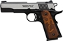 """Picture of Browning 1911-380 Black Label Medallion Single Action Semi-Auto Pistol - 380 ACP, 4-1/4"""", Blacked Slide w/ Polish Flats, Matte Black Composite Frame, Stippled Browning Logo Grip Panels, 2x8rds, Combat Sights, Extended Ambi Safety, w/ Pistol Rug"""