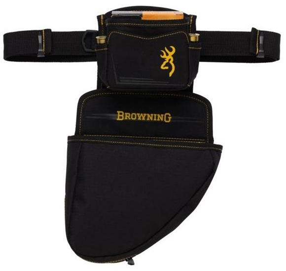 """Picture of Browning Shooting Accessories, Bags & Pouches - Black & Gold Pouch, Water-Resistant Ripstop Fabric, Large Hull Pouch & Shell Holder (Removable), MOLLE, Adjustable Quick Release Belt, 9"""" x 15.5"""" x 5"""""""