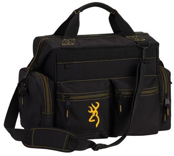 Picture of Browning Shooting Accessories, Bags & Pouches - Black & Gold Series Range Bag, Heavy Duty Zipper, Ripstop Fabric, 5 Zippered Accessory Pockets, Lockable Main Compartment
