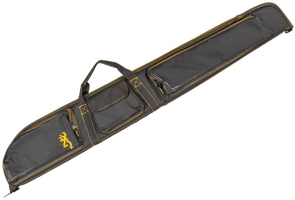 "Picture of Browning Gun Cases, Flexible Gun Cases - Black and Gold Shotgun Case, Water Resistant Ripstop Fabric, Double Main Zipper, Foam Padding, Zippered Front Pockets, Padded Shoulder Strap, 54"" x 2"" x 8"""