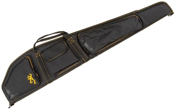 "Picture of Browning Gun Cases, Flexible Gun Cases - Black and Gold Rifle Case, Water Resistant Ripstop Fabric, Double Main Zipper, Foam Padding, Zippered Front Pockets, Padded Shoulder Strap, 50"" x 2"" x 10"""