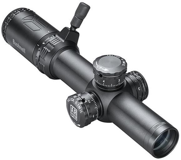 Picture of Bushnell AR Optics Hunting/Tactical Rimfire Riflescopes - 1-4x24mm, 30mm, Matte, Drop Zone-223 BDC, Tactical Target Style Turrets, 1/4 MOA Click Value, Side Parallax Adjustment, Fully Multi-Coated, Waterproof/Fogproof/Shotckproof