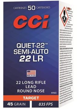 Picture of CCI Target Rimfire Ammo - Quiet-22, 22 LR, 45Gr, LRN, 50rds Box, 835fps