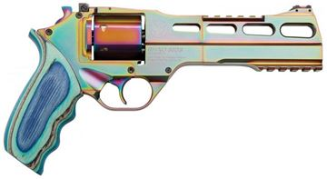 """Picture of Chiappa Rhino Nebula 60DS Revolver - 357 Mag, 6"""", Multi Color PVD, Blue Laminate Grip, 6rds, w/Moonclips, Fiber Optic Front & Adjustable Rear Sights"""