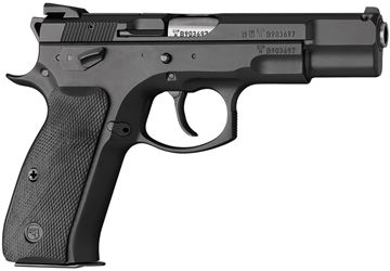 "Picture of CZ 75 B Omega DA/SA Semi-Auto Pistol - 9mm, 4.61"", Hammer Forged, Black Polycoat, Rubberized Plastic Grips, 2x10rds, Fixed Sights"