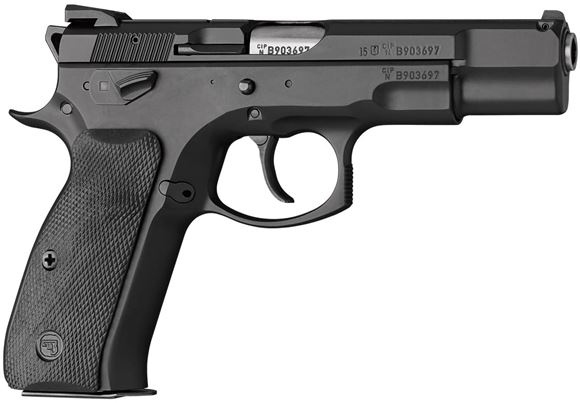 """Picture of CZ 75 B Omega DA/SA Semi-Auto Pistol - 9mm, 4.61"""", Hammer Forged, Black Polycoat, Rubberized Plastic Grips, 2x10rds, Fixed Sights"""