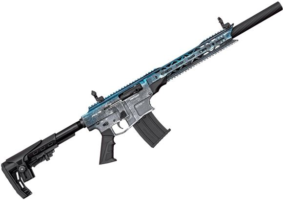 "Picture of Derya Arms MK-12 Model AS-108SE Vertical Magazine Semi-Auto Shotgun - 12Ga, 3"", 20"", Two Tone (ICE Color, Blue & White ), Synthetic Stock, 1x2rds, 2x5rds, AR Flip Up Sights, Barrel Shroud, 3 Mobil Choke"