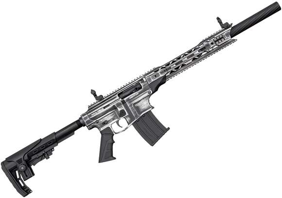 "Picture of Derya Arms MK-12 Model AS-109SE Vertical Magazine Semi-Auto Shotgun - 12Ga, 3"", 20"", Two Tone (Distressed Grey), Synthetic Stock, 1x2rds, 2x5rds, AR Flip Up Sights, Barrel Shroud, 3 Mobil Choke"