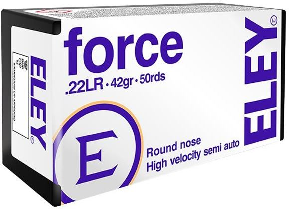 Picture of ELEY Rimfire Ammo - Force, 22 LR, 42Gr, 1250 Fps, Lead Round Nose, 50rds Box