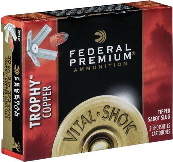 "Picture of Federal Premium Vital-Shok Shotgun Ammo - 20Ga, 3"", 275 Grain Trophy Copper Sabot Slug, 1900fps, 5rds Box"