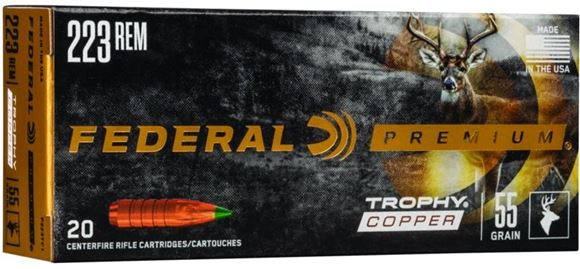 Picture of Federal Premium Trophy Copper Rifle Ammo - 223 Rem, 55gr, Lead-Free, 20rds Box