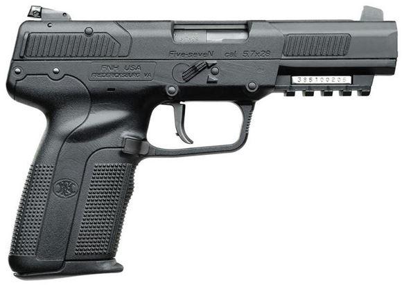 "Picture of FN Herstal (FNH) Five-seveN Semi Auto Pistol - 5.7x28mm, 5"", Matte Black, Black Polymer Frame, 3x10rds, Adjustable Sights"
